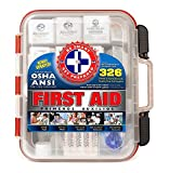 First Aid Kit Hard Red Case 326 Pieces Exceeds OSHA and ANSI Guidelines 100 People - Office, Home, Car, School, Emergency, Survival, Camping, Hunting, and Sports