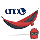 ENO - Eagles Nest Outfitters DoubleNest Lightweight Camping Hammock, 1 to 2 Person, Red/Charcoal