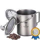 Bestargot Titanium Cup Camping Coffee Mug 750ml Pot, Outdoor French Press Pot, Camp Cooking Pot, Multi-Functional Travel Mug, Pot, Capacity 25 Fl Oz, Light and Portable 7.7 Oz