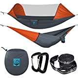Camping Hammock with Mosquito Net - Ripstop Nylon - Ultralight Hammock Tent Bundle with Bug Netting, Straps, Carabiners