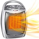 GiveBest Portable Electric Space Heater, 1500W/750W ETL Certified Ceramic Heater with Thermostat, Heat Up 200 sq. Ft in Minutes, Safe & Quiet for Office Room Desk Indoor Use (Sliver)