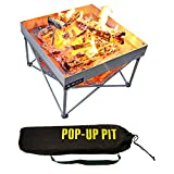 Pop-Up Fire Pit | Portable and Lightweight | Fullsize 24 Inch | Weight 8 lbs. | Never Rust Fire Pit | Included Heat Shield for Leave No Trace Fires (Pop-Up Fire Pit + Heat Shield)