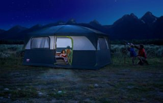 Coleman Signature Prairie Breeze 14x10 tent at night.