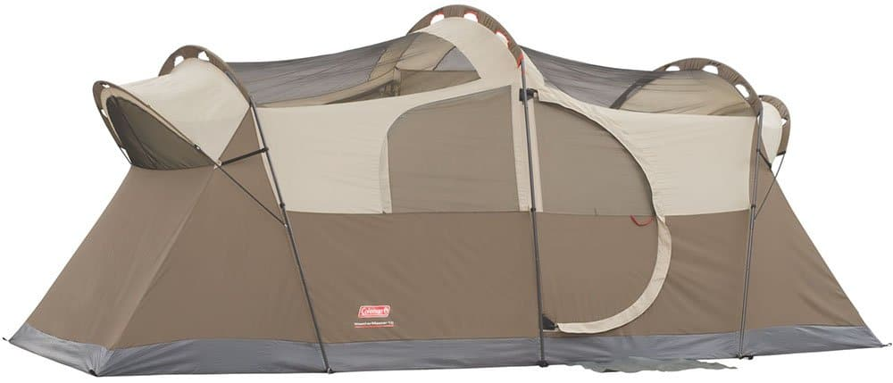 Coleman WeatherMaster 17x9 family camping tent with no rainfly.