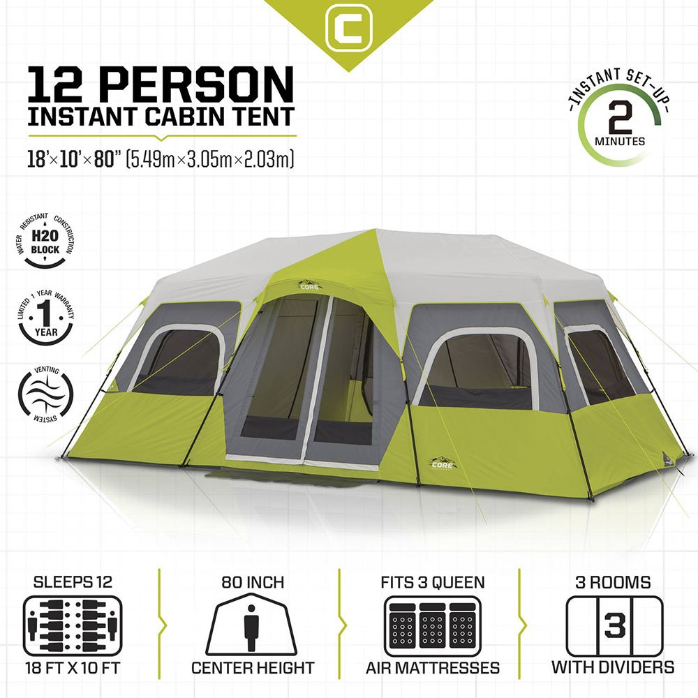 Core 12 Person 18x12 Camping Tent Info Sheet