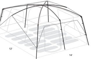 Eureka Copper Canyon 14x12 large camping tent dimensions and layout.
