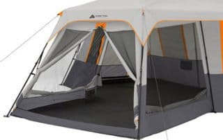 Ozark Trail 12 Person 20x18 instant family camping tent front view.