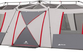Ozark Trail 15 person instant cabin tent front view.