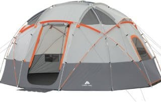 Ozark Trail 12 Person 16x16 sphere camping tent door view.