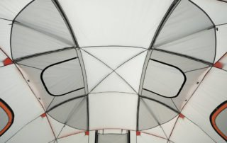 Ozark Trail 12 Person 16x16 family sphere tent ceiling view.