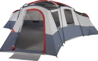 Ozark Trail 25x21 20 person extra large camping tent front view.