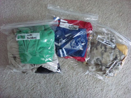 Clothes packed in ziploc bags.