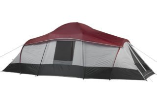 Ozark Trail 10 person 20x10 large camping tent back view.