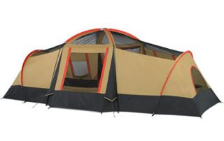 Ozark Trail 10 Person 20x11 large family camping tent rear view.