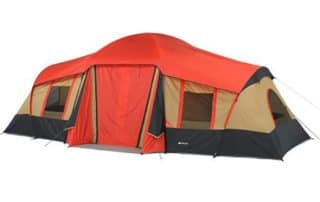 Ozark Trail 10 Person 20x11 family camping tent front view.