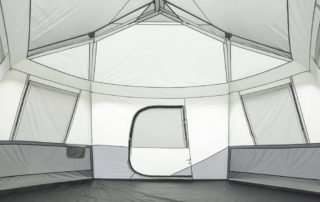Ozark Trail 11 Person 17x15 instant hexagon large tent inside view.