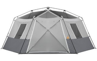 Ozark Trail 11 Person 17x15 instant hexagon cabin tent closed awning.