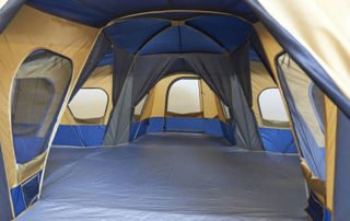 Ozark Trail Base Camp 14 Person 20x20 4 room tent inside view.