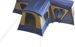Ozark Trail Base Camp 14 Person 20x20 4 room tent top view.