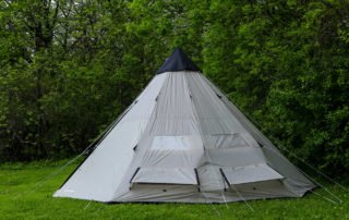Tahoe Gear Bighorn XL 12 person 18x18 teepee tent back view.