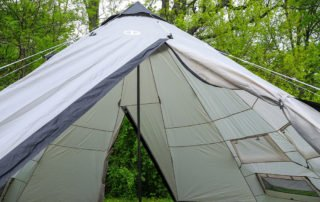 Tahoe Gear Bighorn XL 12 person 18x18 family teepee tent inside view.