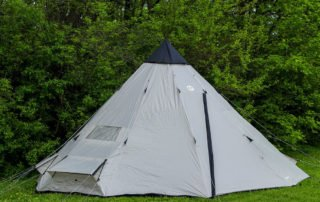 Tahoe Gear Bighorn XL 12 person 18x18 teepee tent side view.