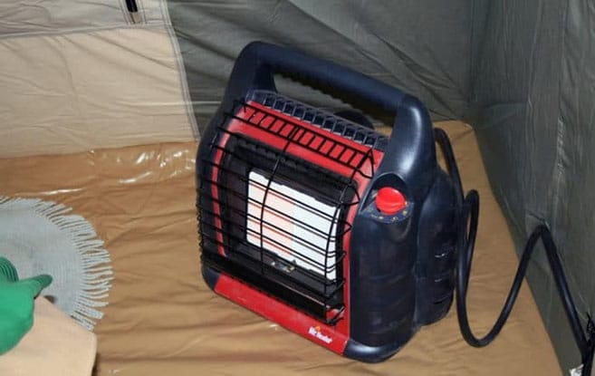 Mr Heater Buddy in a tent.
