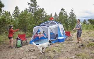Wenzel Klondike 8 person 17x11 family tent outdoors.