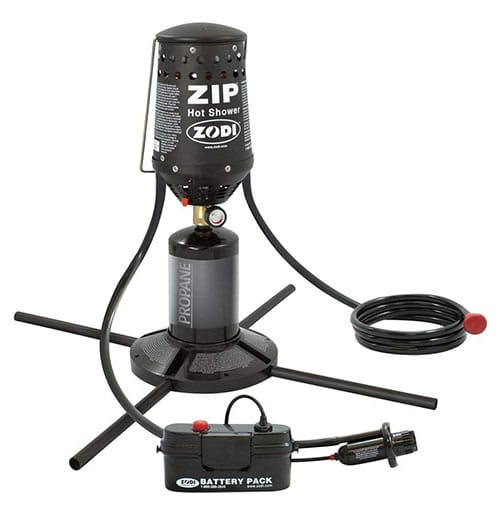 Zodi zip instant hot shower. A great camping gift for families who love to camp.