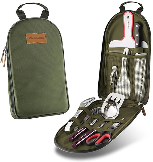 Camping utensil and kitchen cookware set.