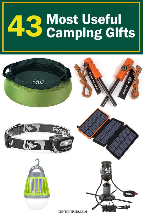 The 43 most useful camping gifts for outdoor lovers. This list offers the best camping gift ideas for those who love to go camping. #TentsnTrees