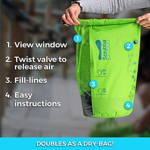 Portable laundry system for washing clothes when camping.