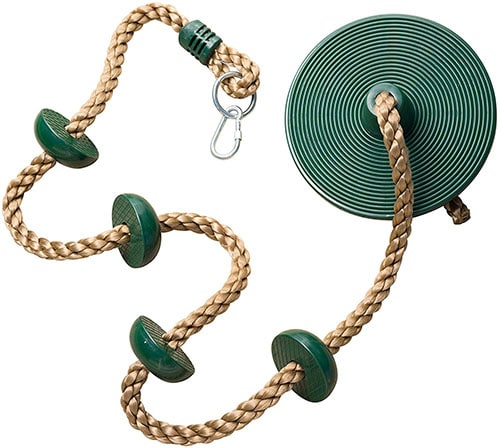 Rope swing and climbing rope combo makes a great camping activity for kids.
