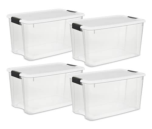 70 quart plastic storage containers for keeping camping gear organized.