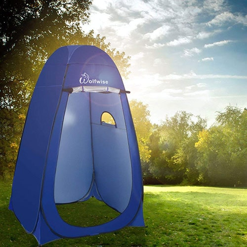 Wolfwise pop up privacy camping tent outdoors.