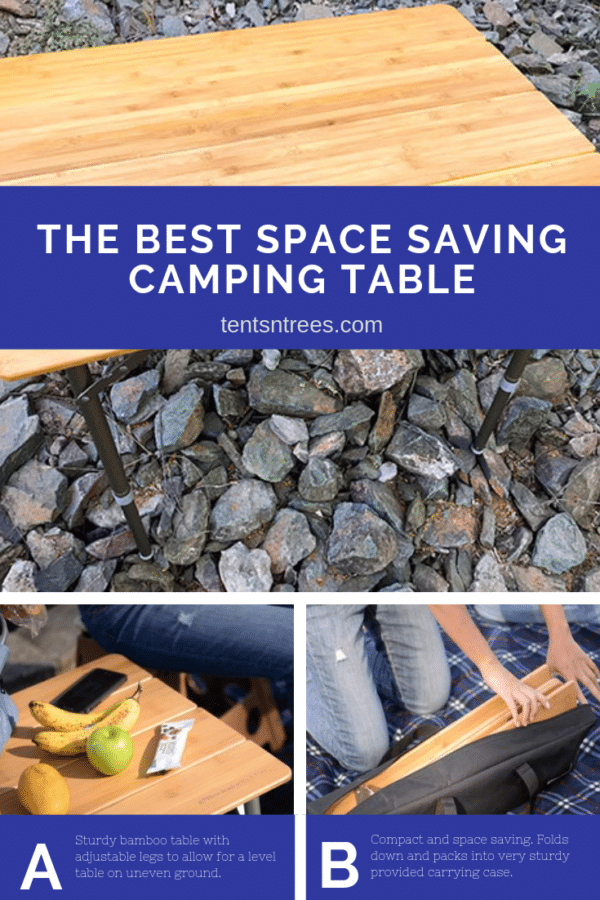 Beckworth & Co. Large Bamboo Folding Table review. The most portable camping tale you will find. A great option for those looking to save space. #TentsnTrees #campingtable