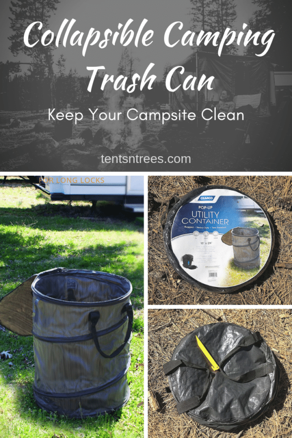 Camco Collapsible Trash Can. Great for easily keeping your campsite clean. #TentsnTrees #campinggear