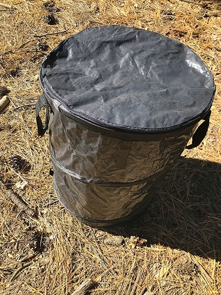 Camco Pop Up Trash Can side view.