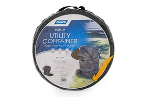 Camco Collapsible Trash Can for camping.
