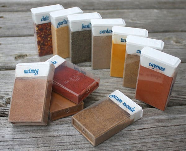 Bring camping cooking spices in old tic tac containers.