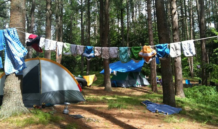 Clothesline for drying out your clothes while camping. #TentsnTrees