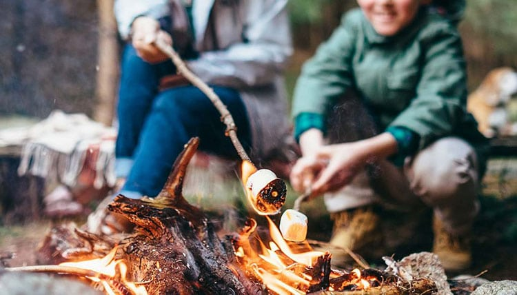 Cooking marshmallows while camping.