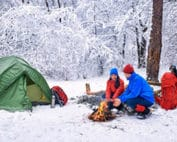 Couple going winter camping