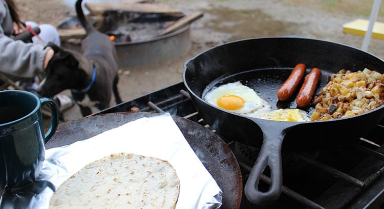 Cooking food while camping.
