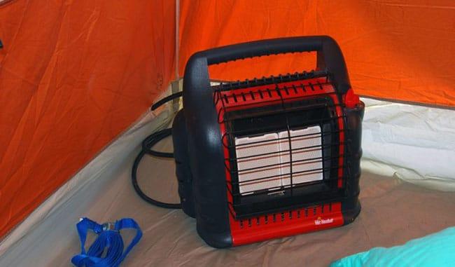 Heater inside a tent